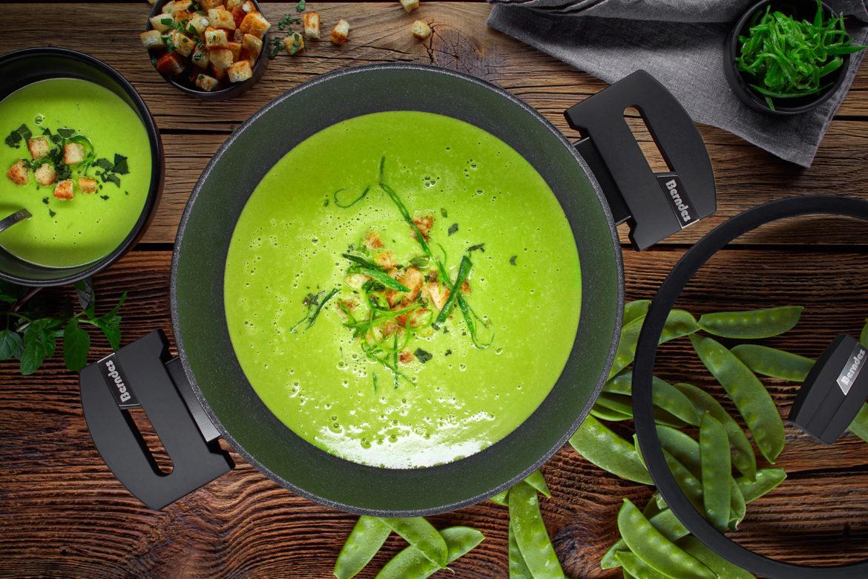 Cremesuppe von grünen Erbsen